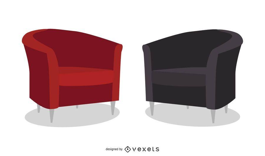 Leather Sofa Vector Set