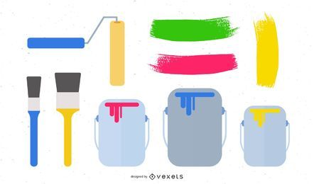 Vector conjunto de cepillo de pintura