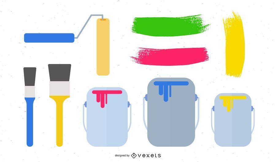 Vector conjunto de pincel de pintura
