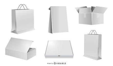 Vectores de embalaje en blanco vectores