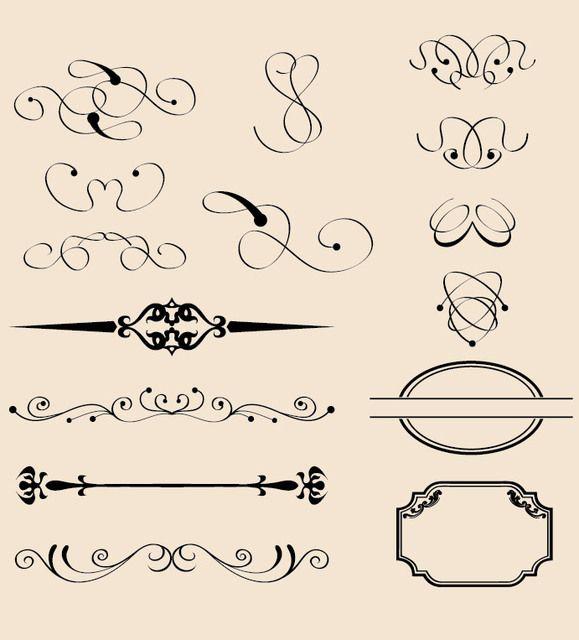 Decoraciones caligráficas vintage