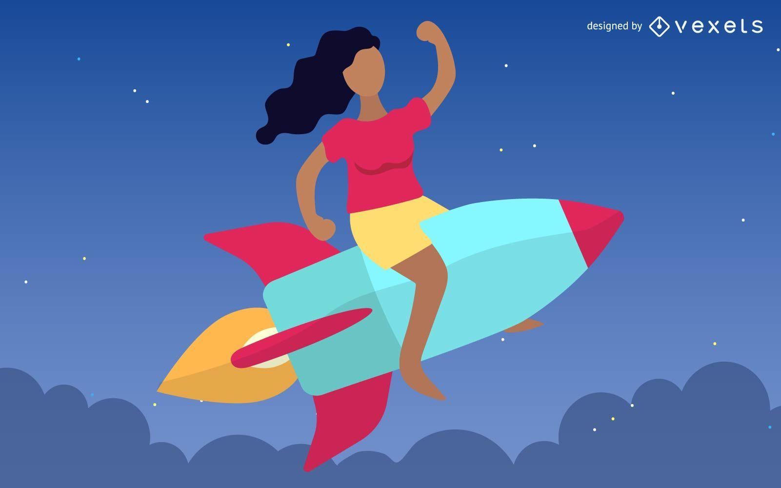 Chica montando cohete con misiles