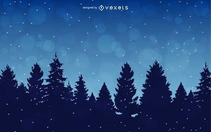 Fondo de invierno con árboles