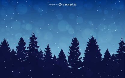 Fundo de inverno com árvores