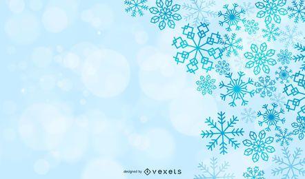 Fundo de Natal com flocos de neve mágicos