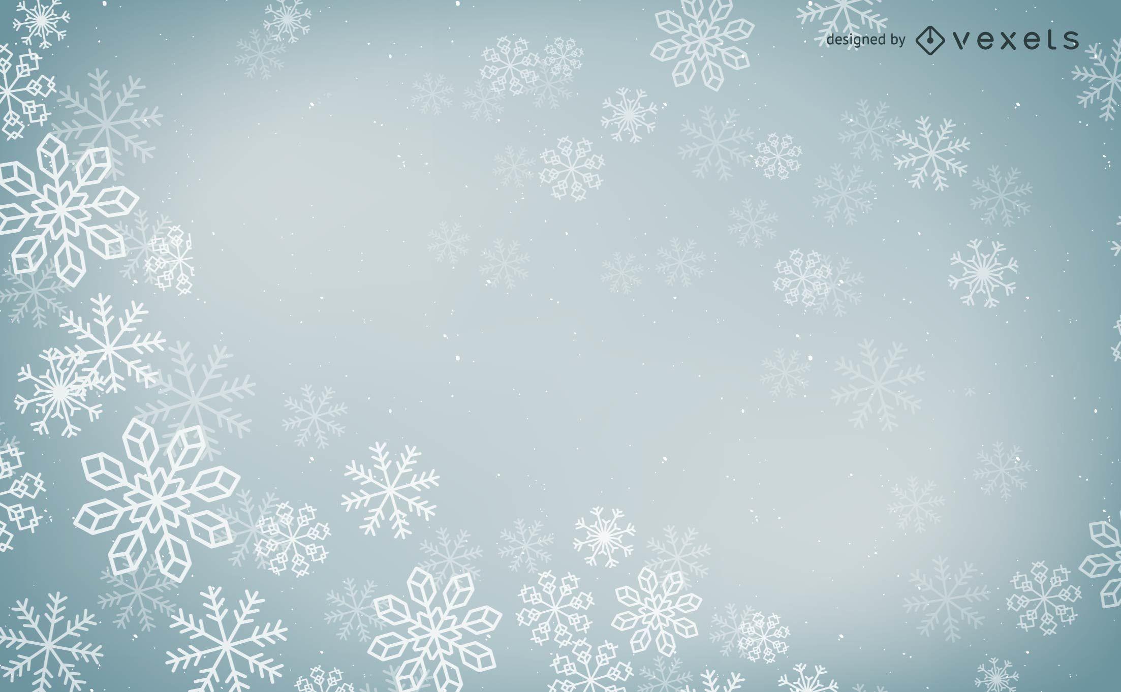 Diseño vectorial de copos de nieve