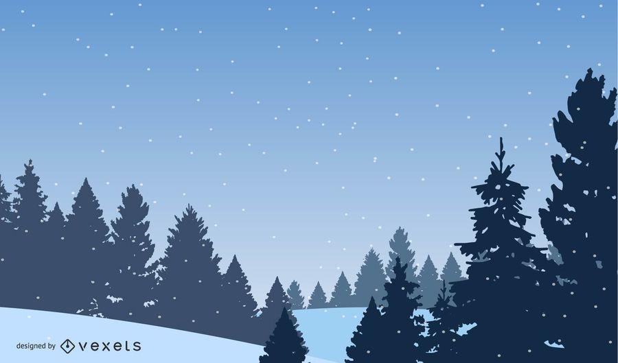 Desenho de paisagem de inverno 3D