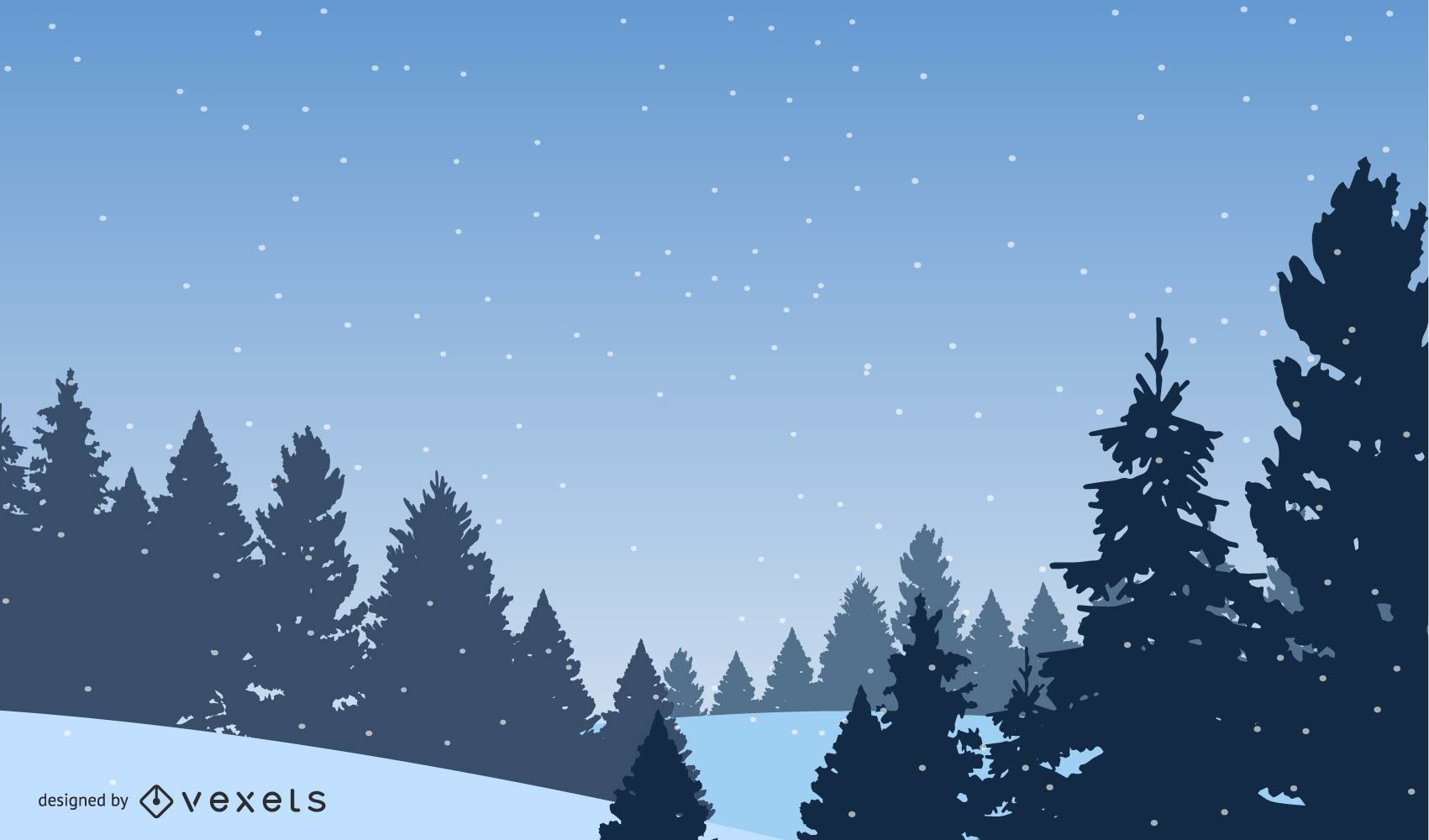3D Winter Landscape drawing