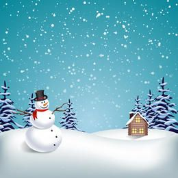 Winter landscape with snowman