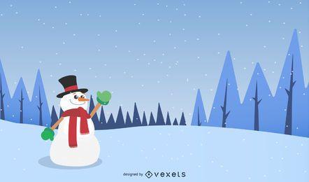 Paisaje invernal con muñeco de nieve
