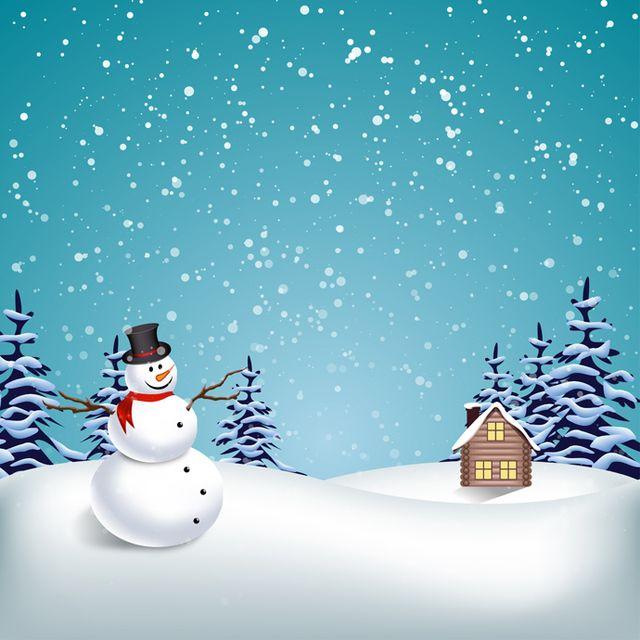 winter landscape with snowman vector download. Black Bedroom Furniture Sets. Home Design Ideas