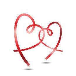 Vetor de corações de fita
