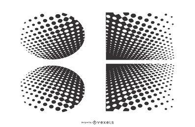 Conjunto de desenhos de meio-tom