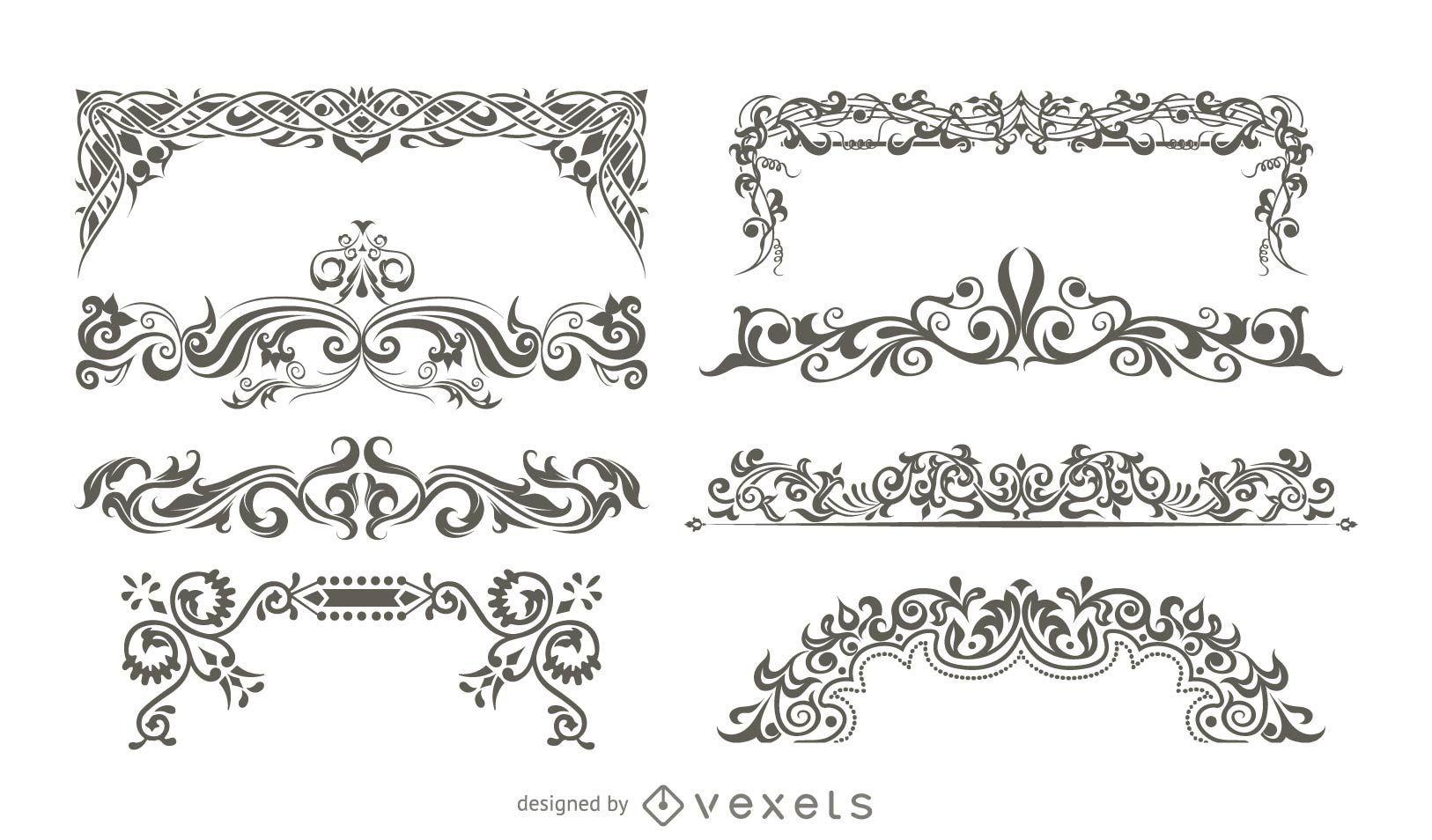 Adornos decorativos vectoriales