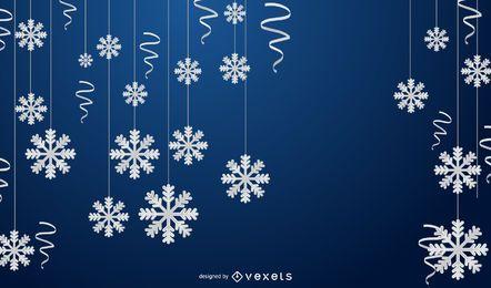 Fondo de copo de nieve de invierno