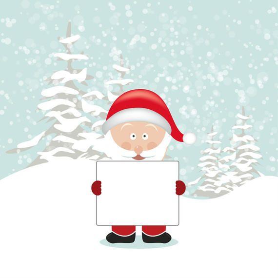 Papai Noel segurando o tabuleiro vazio