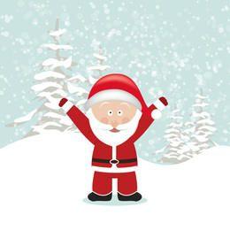 Papai Noel com as mãos para cima