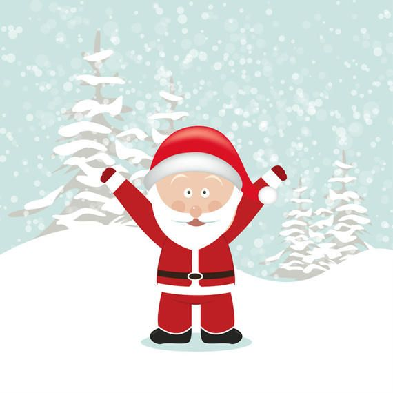 Santa with Hands Up