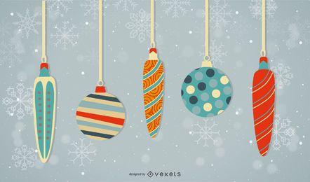 Weihnachtskugeln mit Schneeflocken