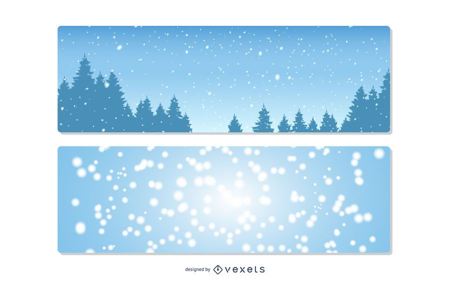 Conjunto de banner de navidad nevado