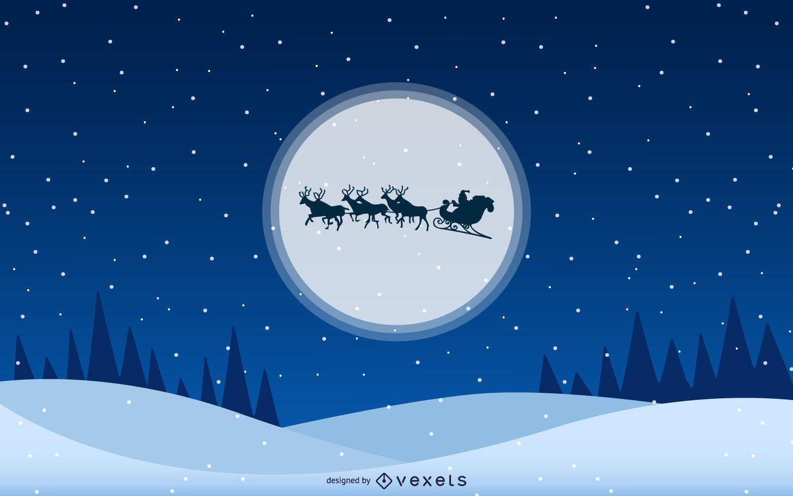 Santa Moon Christmas Backgrounds