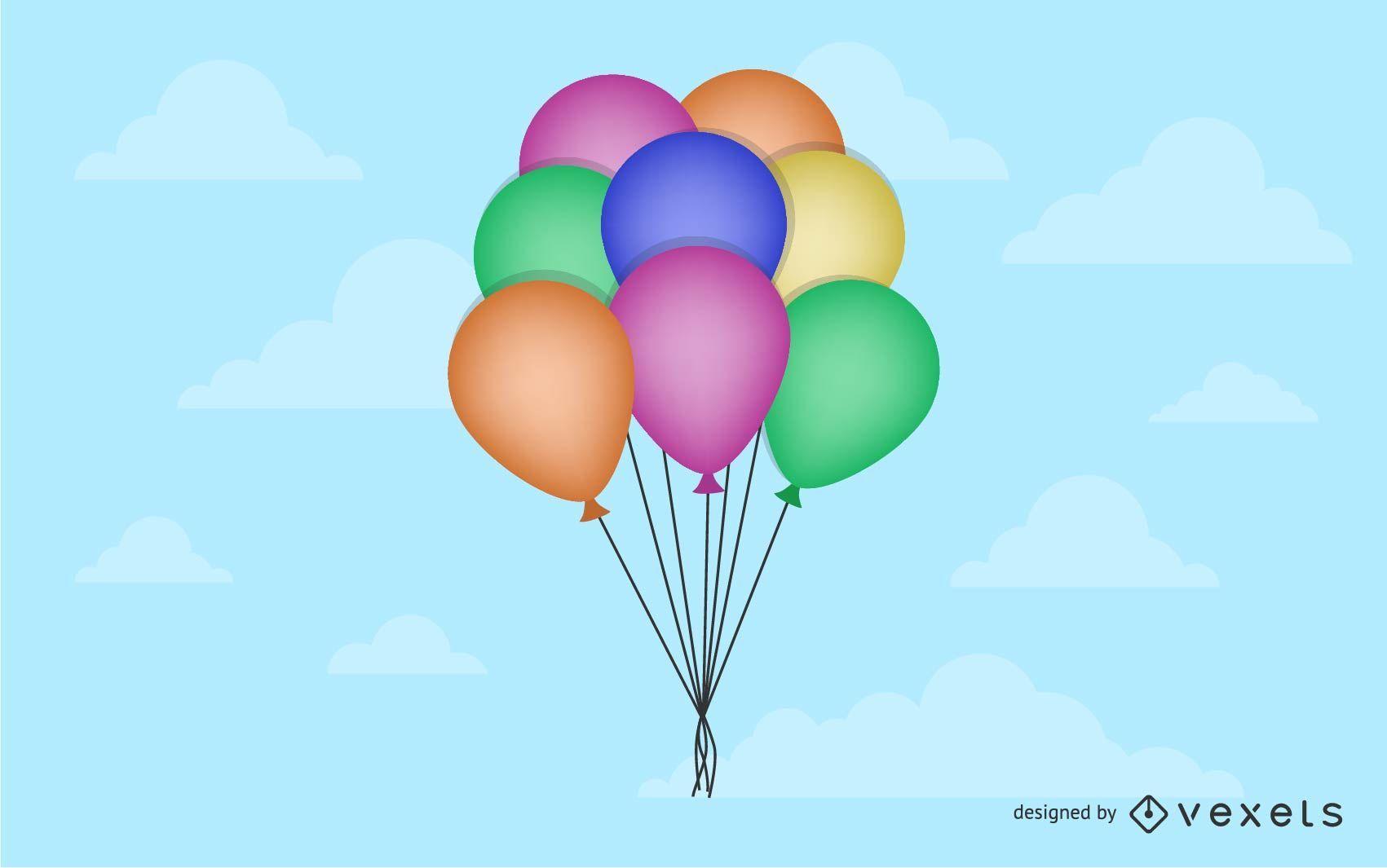 Vector cumpleaños globos