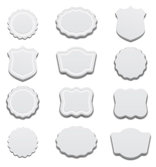Etiquetas 3D blancas