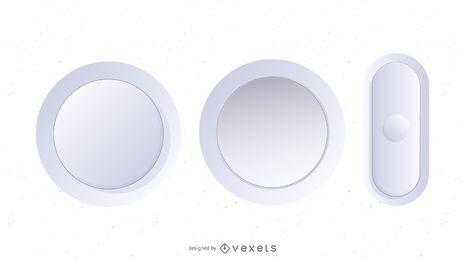 Botões de vetor branco