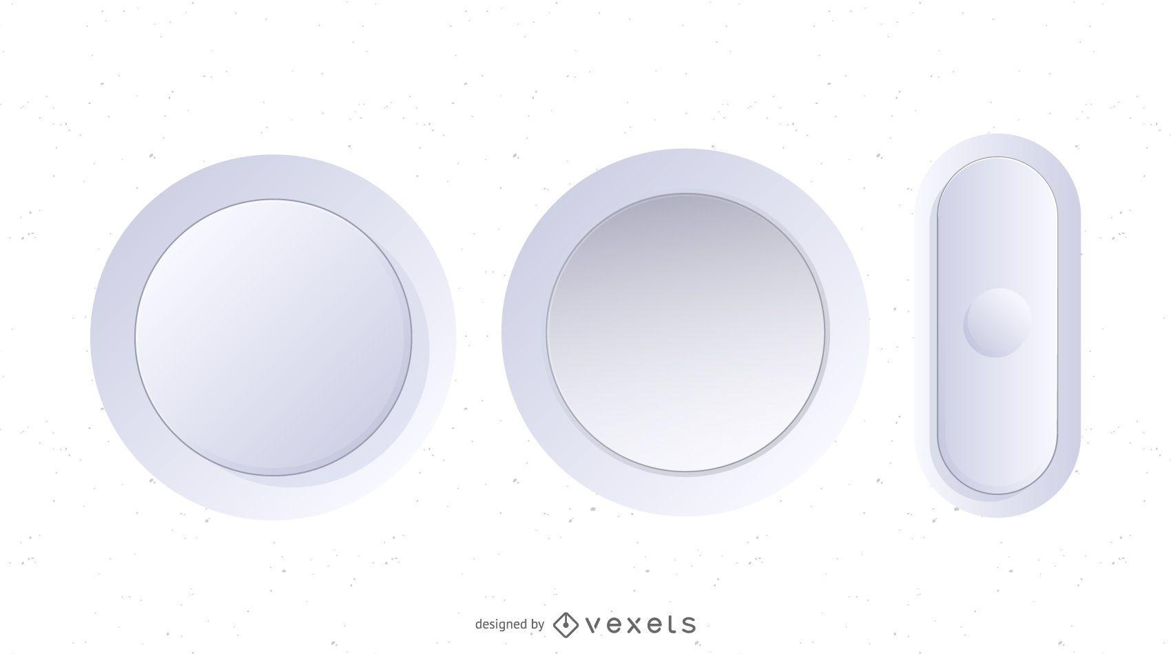 Botones de vector blanco