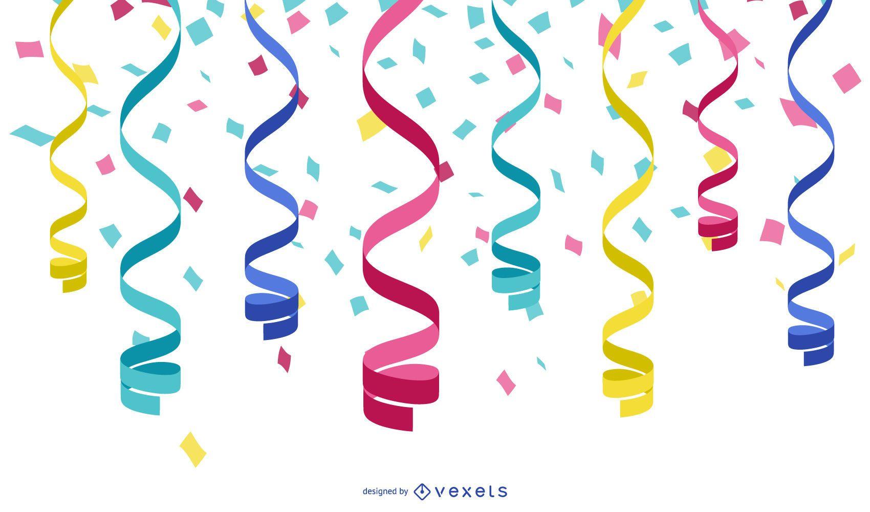 Vector cintas serpentinas