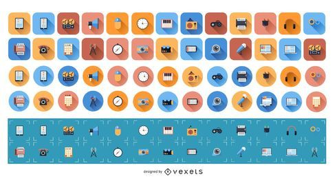 Conjunto de ícones planos 1
