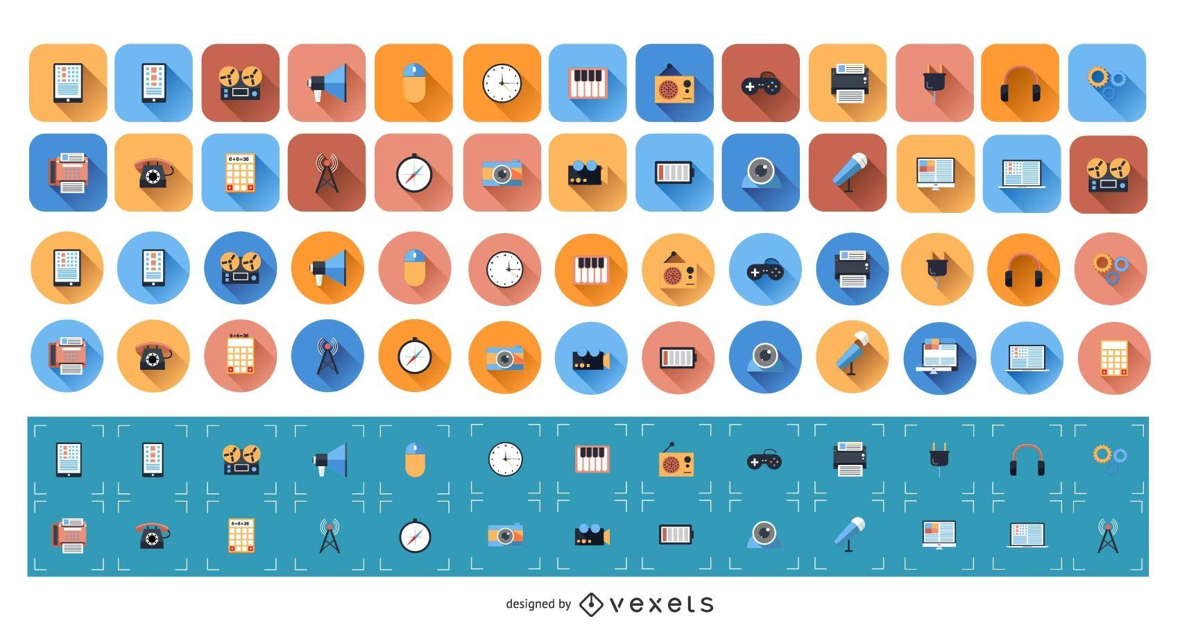 Conjunto de iconos planos 1