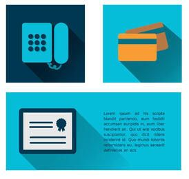 Iconos de teléfono, tarjeta de crédito y certificado