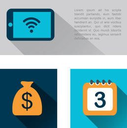 3 ícones financeiros de negócios