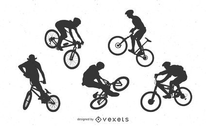 Silhuetas de bicicleta de BMX