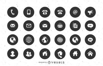 Póngase en contacto con iconos planos