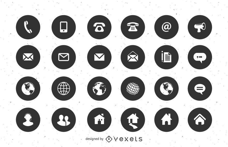 Iconos planos de contacto