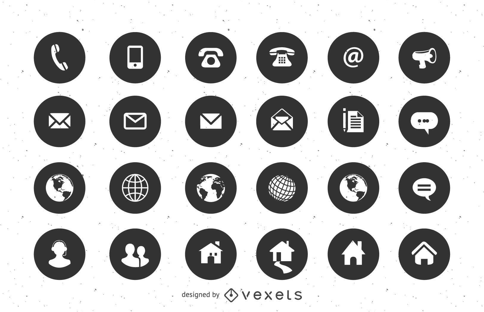 Contacto iconos planos