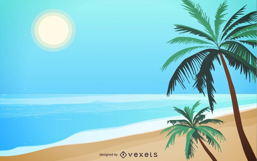Summer Beach Wallpaper Vector Download