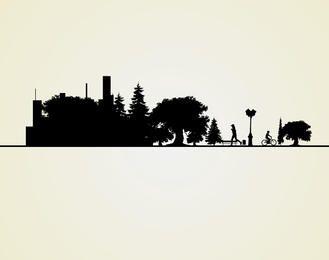 Silhueta da paisagem da cidade