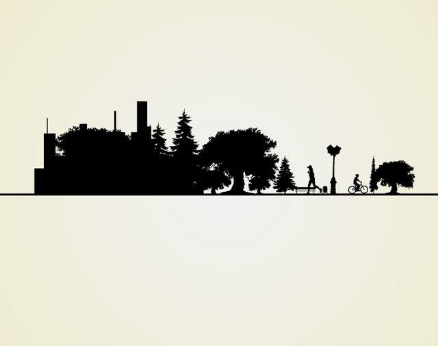 Paisaje urbano paisaje silueta