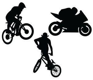 BMX-Motorrad-Silhouetten