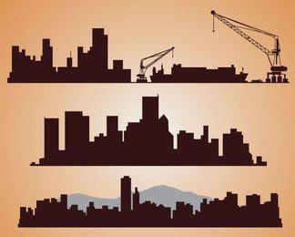 Silhuetas de paisagens urbanas industriais
