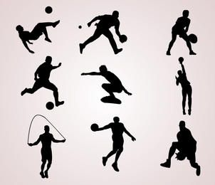 Silhuetas de esportistas
