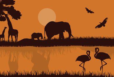 Silhueta de safári africana