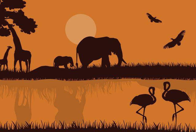 Silueta de safari africano