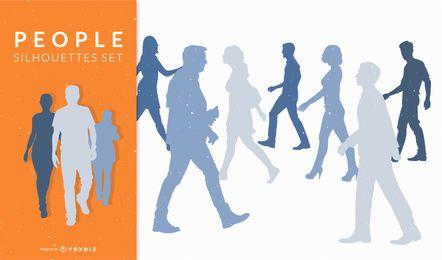 Silhuetas de pessoas andando