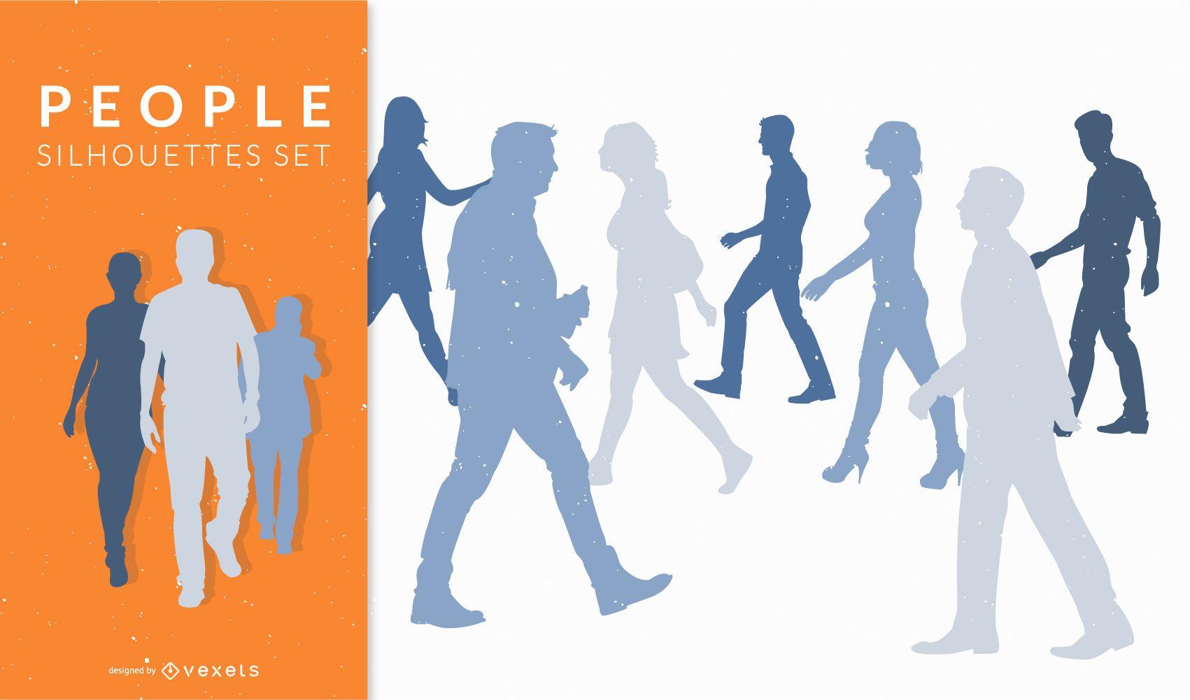 Siluetas de personas caminando