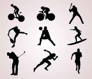 Silhuetas de jogador de esportes