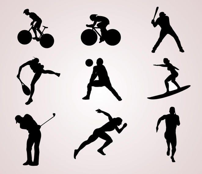 Siluetas de jugadores de deportes